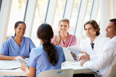 group of nurses discussing